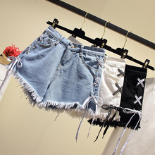 цена на Mr.nut 2019 summer new high waist slim tie with hole burrs fringed denim shorts hot pants