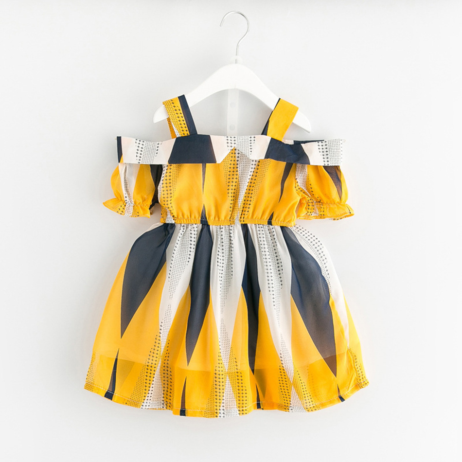 Girls Off Shoulder Chiffon Dress Summer Fashion Style New Baby Toddler Clothes Yellow Princess Fashion Kids Dresses For Girls