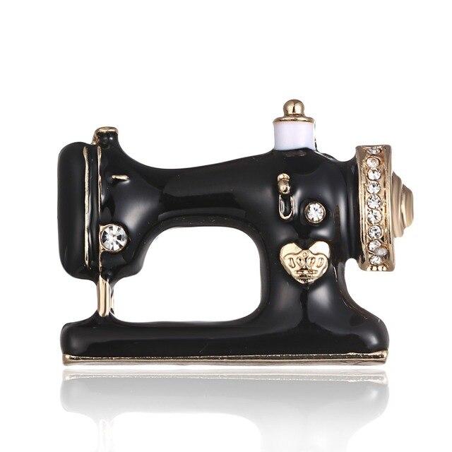 Vingerhoed naald draad naaister zwart naaimachine broche Vrouwen pin broches Emaille pins Denim Jasje Pin Badge Gift Sieraden