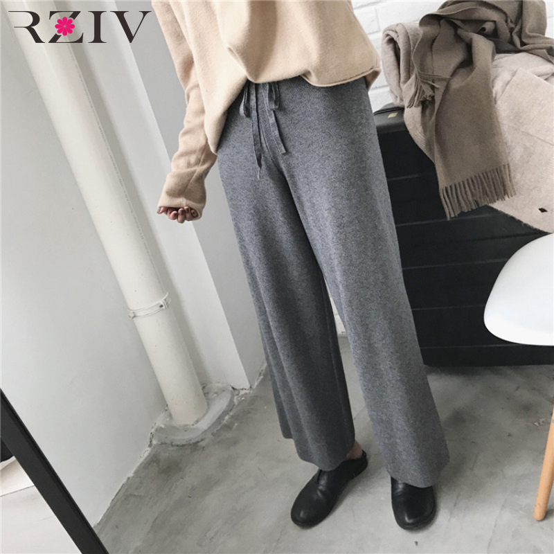RZIV Autumn Women's   Pants   Casual Solid Color High Waist Knit   Wide     Leg     Pants