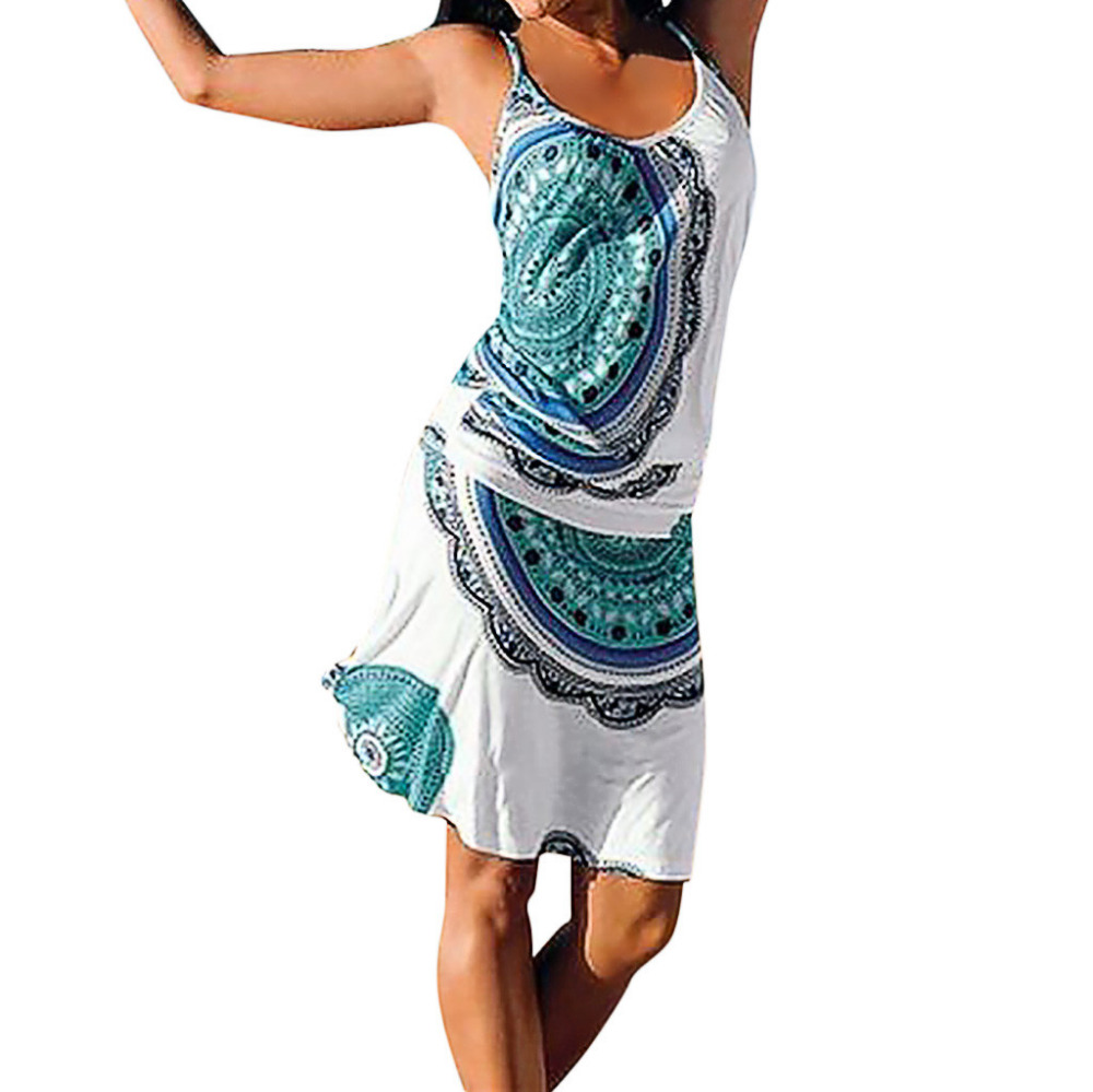 Women's Bohemian Sleeveless Knee-Length A-Line Dress Print O-Neck summer sundresses dresses Beach dresses womens 2019 dress