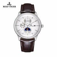 2019 Recife Tigre/RT Casuais Mens Relógios Lente Convexa Aço Analógico Relógios Pulseira De Couro Relógios Automáticos RGA1653 Relógios mecânicos     -