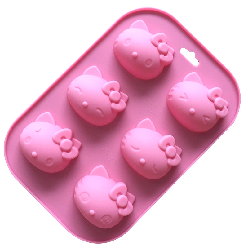 Silicone Mousse Cake Mold 6 Cartoon Kitty Cat Expression DIY Handmade Soap Mold Multi-Expression Cat Head Aroma Mold Baking Tool