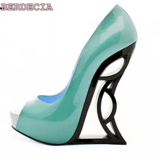 smooth leather multi-color high heel shoes 2017 summer newest peep toe shoes woman dress pumps strange style heels pumps photo newest peep toe high heel shoes 2017