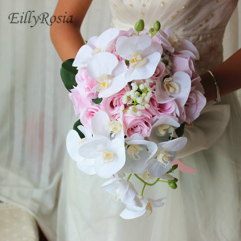 Pink Roses Phalaenopsis Wedding Flowers Bridal Bouquet Artificial Waterfall Handmade Romantic Wedding Bouquet mariage Satin Silk