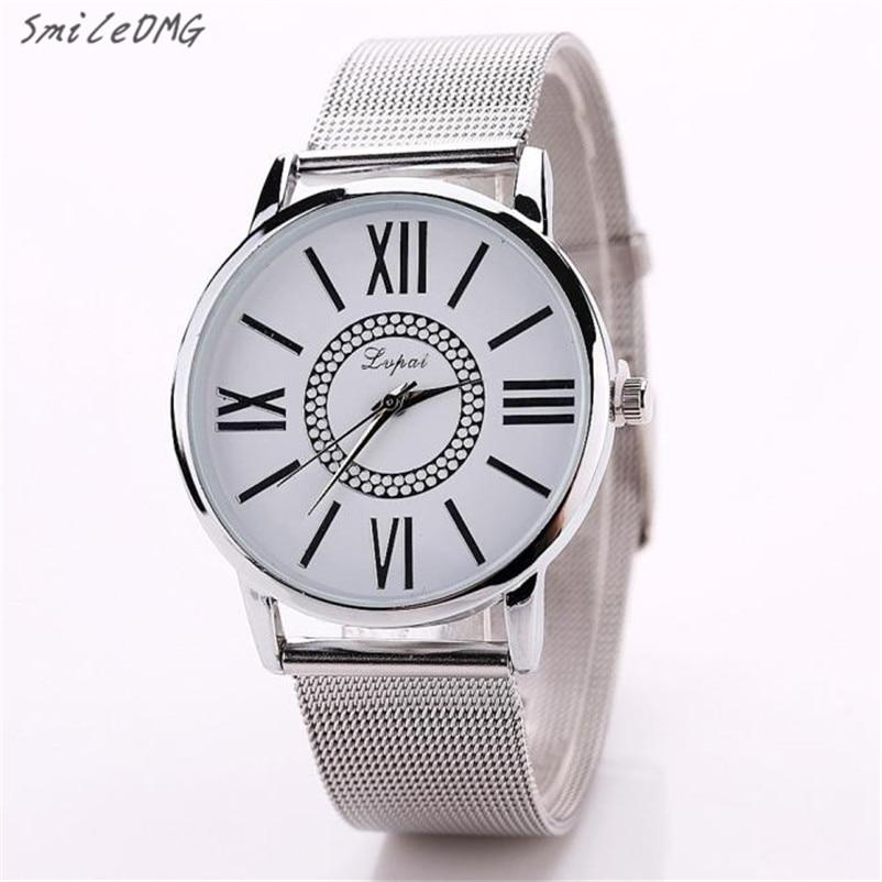 SmileOMG Fashion Mens Watch Casual Women Men Bracelet Stainless Steel Quartz Wrist Watch Gift Free Shipping