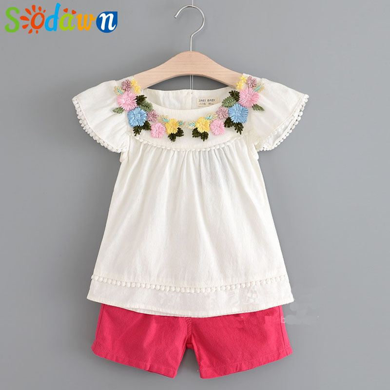 Sodawn 2018 Summer New Girls Clothes Patch Embroidery Flower Cotton Short-Sleeved Shorts Suit Baby Girls Clothing Set