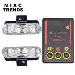 MIXC TRENDS 12V 4LED Mini samochód LED światło stroboskopowe światło policyjne o wysokiej jasności Car Styling awaryjne ostrzeżenie 3 migające światła przeciwmgielne