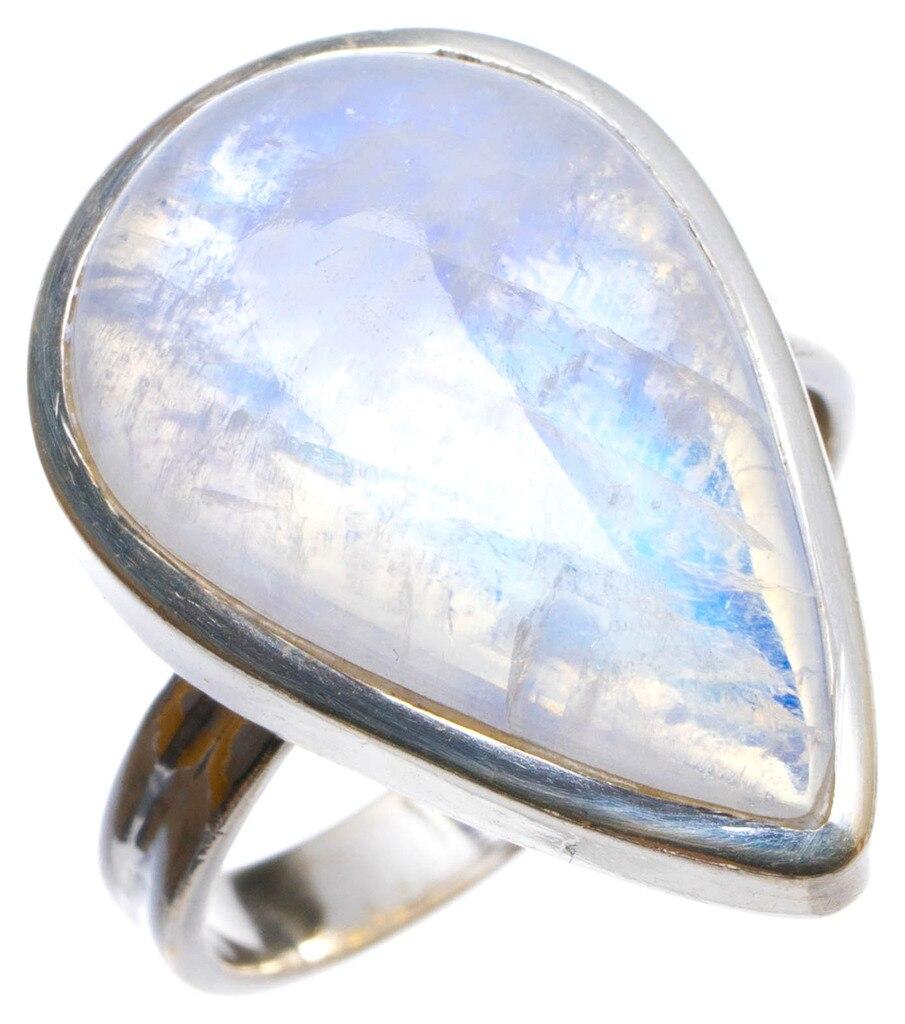 Natural Rainbow Moonstone Handmade Unique 925 Sterling Silver Ring, US size 8.5 X3151 natural rainbow moonstone handmade unique 925 sterling silver ring 6 75 y4681