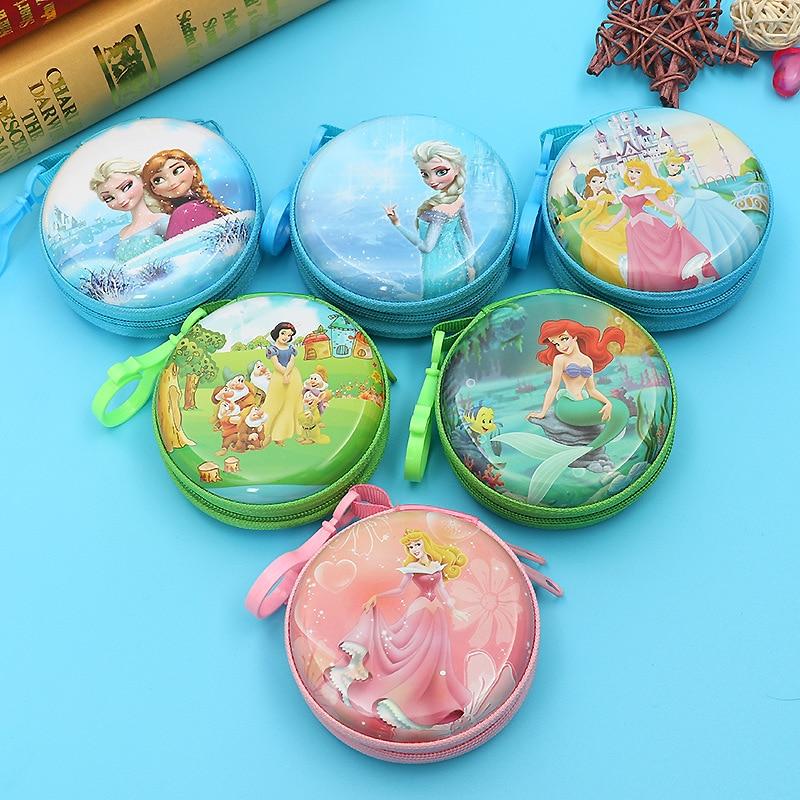 Disney Cartoon Frozen Children Coin Purse Elsa Princess Headphone Storage Box Key Case Girls And Boys  Gift  Spiderman Iron Man