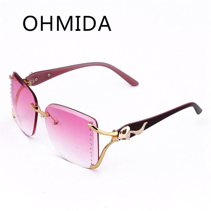 c912f9905a5e OHMIDA Rimless Frame Sunglasses Crystal Diamond Eyeglasses Luxury Women  Brand Designer Retro Oculos De Sol Feminino Female