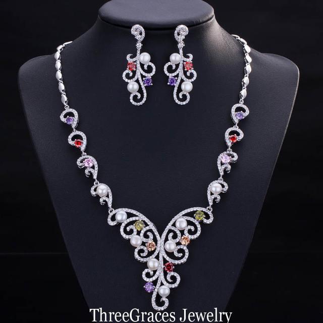 2017 Nueva Joyería Nupcial Africana Colorido CZ Creado Diamond Mujeres Conjuntos Collar De La Boda Con Perlas cultivadas JS141