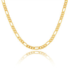 Gold color Men Necklace Jewelry Wholesale Stainless Steel 5 Sizes 5MM Trendy Long Figaro Chain Necklace NU722