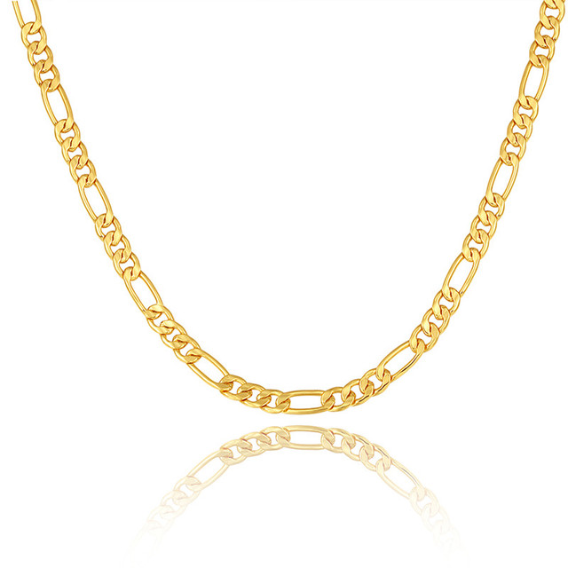 Gold color Men Necklace Jewelry Wholesale Stainless Steel 5 Sizes 6MM Trendy Long Figaro Chain Necklace N722