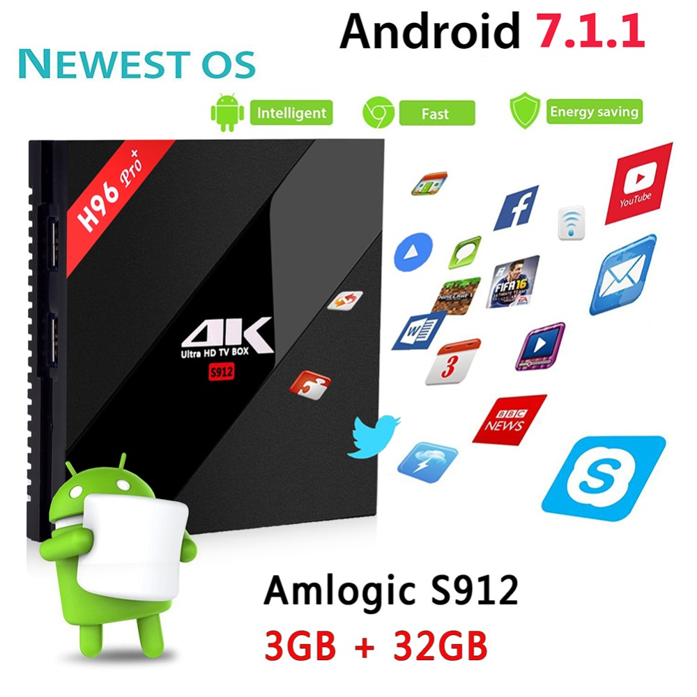 H96 Pro Plus Amlogic S912 Octa Core Android 7.1 TV Box 3GB 32GB 4K HD Mini Media Player 2.4G/5GHz Wifi BT 4.1 Smart Set Top Box android tv box h96 pro plus 1pcs i8 keyboard amlogic s912 3gb 32gb quad core 4k wifi h 265 mini pc smart tv box set top box