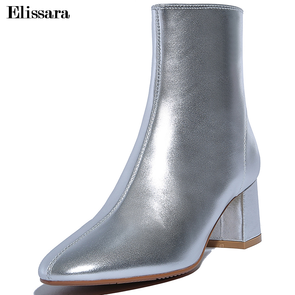 Elissara Fashion New Women High Heels Ankle Boots Women's Winter Natural Leather Boots Shoes Lady Zip Pointed Toe Boots флизелиновые обои sirpi rhinoceros 5 20350