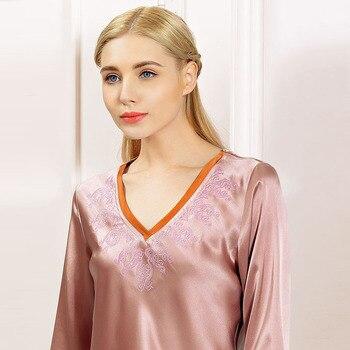 Brand Silk Pajama Sets Women's 2 Piece Pajamas Set Solid Sexy Ladies Pyjamas Sets 100% Silk Sleepwear PJS For Women Homewear Set