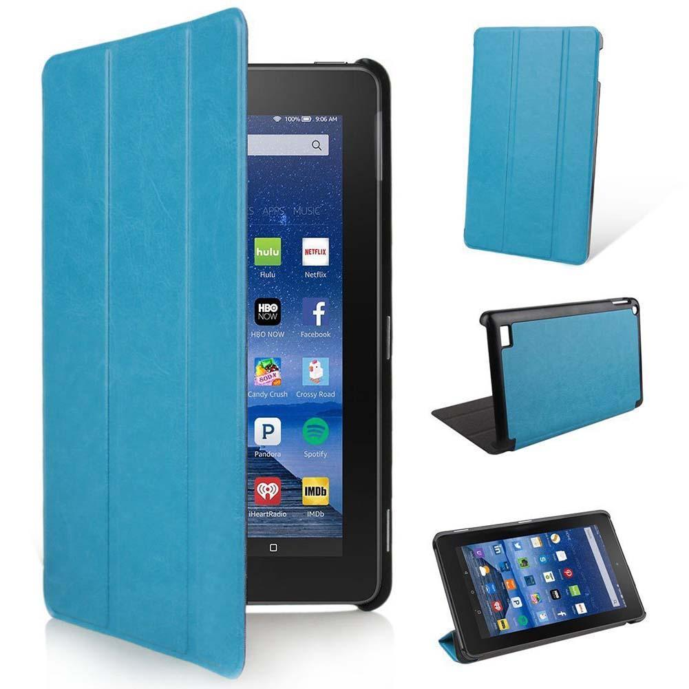 Blue best Ultra Slim Leather Case Stand Cover for Amazon Kindle Fire HD 7 Tablet case for tablet protection cover for amazon 2017 new kindle fire hd 8 armor shockproof hybrid heavy duty protective stand cover case for kindle fire hd8 2017