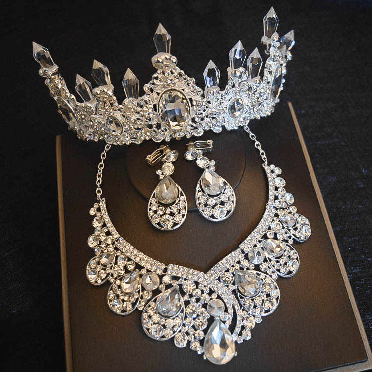 Luxury Big Rhinestone Bridal Jewelry Sets Silver Crystal Crown Tiaras Statement Necklace Earrings Set For Bride Hair Accessories