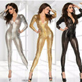 Sexy S-XXL Club Jumpsuits Gold Black Sliver Women Jumpsuit Bodysuit  Wholesale Price Sexy Vinyl Women Catsuit Jumpsuit  W7711