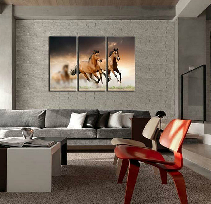 Running Wild Horse Brown Horses Galloping In Dust In Sunset Canvas Print Wall Art Painting For Home Decor Artwork Animal Picture