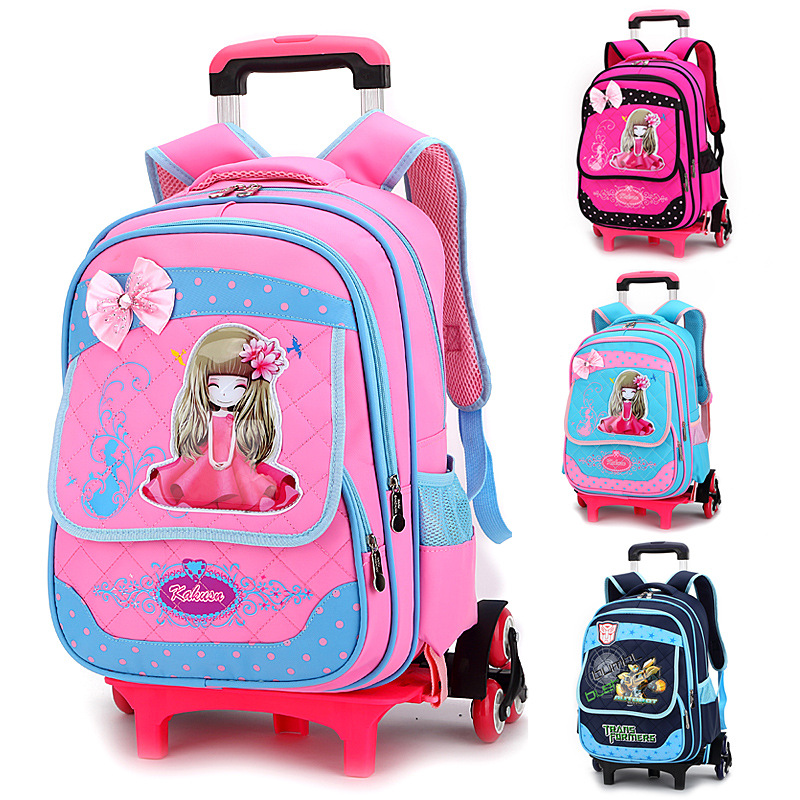 ZIRANYU with 6 wheels Rolling school backpacks girls boys trolley ...