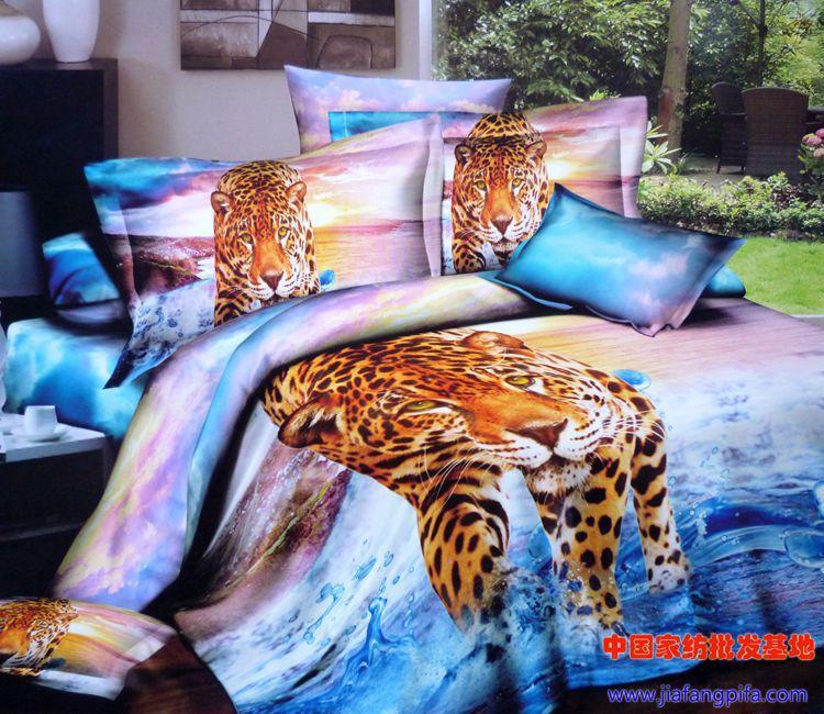 3d Aqua Blue Purple Leopard Tiger Animal Print Bedding