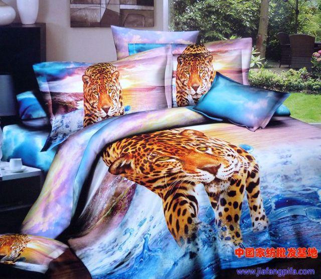 3d Aqua Blue Purple Leopard Tiger Animal Print Bedding Sets Queen
