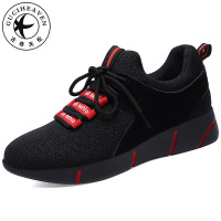 Guciheaven Flat Platform Casual Sneaker Women Walking Shoes Ladies Lace Up Air Mesh Cloth Stripe Black 2018 new model S