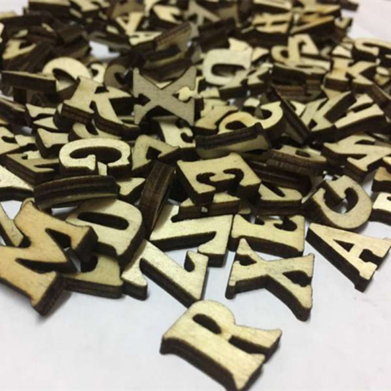 100pcs/lot Rustic Wooden Wood Letters Wedding Party Festival Table Scatter Decoration Crafts Children Early Education
