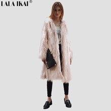 33494ef87626c Women Winter Fluffy Hair Faux Fur Coat Pink Green White Black Long Sleeve Plus  Size 3XL Lady Fashion Warm Outerwear SWQ0372-45