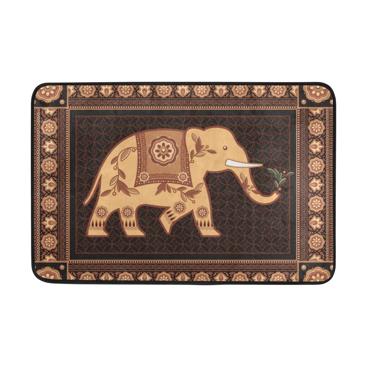 Mrmian Decorated Indian Elephant Rubber Non Slip Entry Way