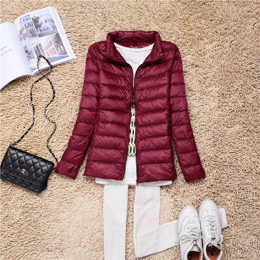 Новинка Осень Зима Плюс Размер XL-7XL пуховик женский ультра легкий 90% белый утиный пух куртка воротник ветрозащитная женская верхняя одежда Mw106