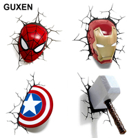 Guxen 3D Marvel Deco Light Avengers Iron Man/Spider Man/The Hulk/Hammer/Captain America shield with Crack Wall Sticker light