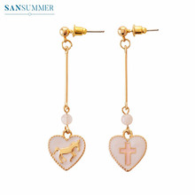 цена на Stud Earrings For Women Trendy Geometric Stud Earrings Heart Shape House  Long Earrings Bijoux Women Jewelry Brincos Mujer