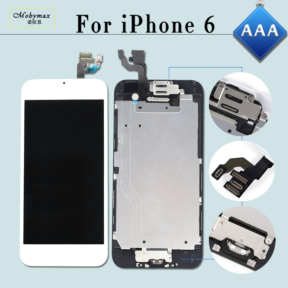 Mobymax 10PCS for iPhone 6 A1549 A1586 Display LCD Ecran Pantalla Touch Screen Digitizer Full Assembly+Home Button+Front Camera