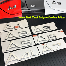 Decals Symbol 1pcs New Car styling high quality ABS Car Emblem Rear Number Letter sticker for audi A1 A3 A4 A5 A6 A7 A8 STICKERS for audi a8 a8l emblem rear chrome oem quality 4e0853741a2zz