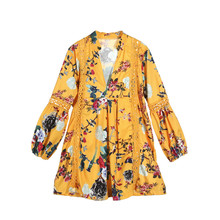 2018 Korean Women Clothing Floral Print Dresses Women Spring V-Neck Long Puff Sleeve Casual Loose Beach Holiday Party Dress