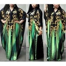 Fashion Vintage African Dresses For Women Flower Bat Sleeve Print Maxi Summer Long Dress Robe