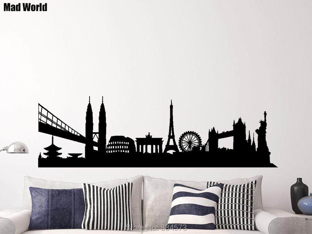 International skyline city landscape landmarks wall art for International home decor stores