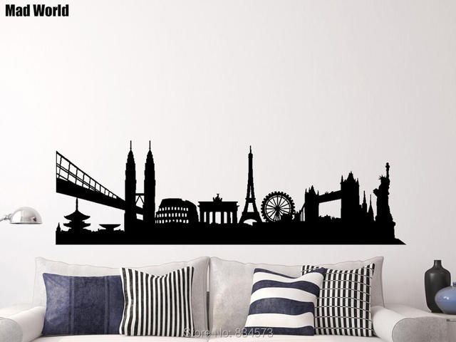 International skyline city landscape landmarks wall art for Art decoration international