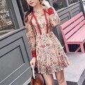 Stickerei Langarm Mini Spitze Kleid Sehen Durch Applikationen Volle O-ansatz Sexy Kleid Fischschwanz Kurze Party Mini Kleid Elegante Robe