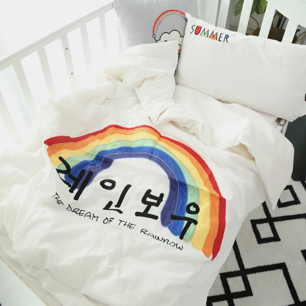 Baby bed sheet pattern - Soft Bedding Set For Baby Toddlers Kids Rainbow Pattern Duvet Cover Bedsheet