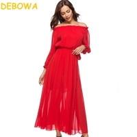Debowa 2018 New Spring Summer Dress Women Red Long Chiffon Dress Sashes Off S Bohemian Sweet