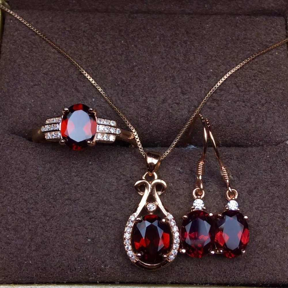 Kjjeaxcmyブティック宝石925純銀象嵌自然ザクロ石ネックレスペンダントリングイヤリング3ピース