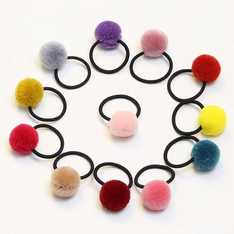 2 шт. в партии, Лидер продаж, аксессуары для волос для маленькой девочки, яркие цвета, искусственный мех кролика, шарик, резиновая повязка для волос, высококачественная одежда для волос
