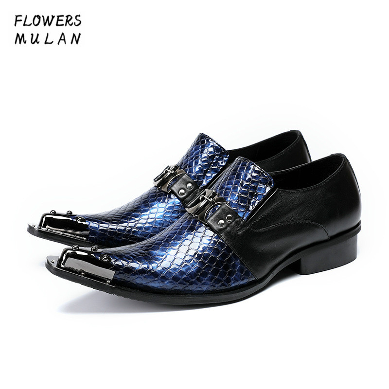 Patchwork Blue Sanke Pattern Leather Men Dress Shoes Pointed Metal Toe Slip On Footwear One Buckle Male Business Shoes Wedding