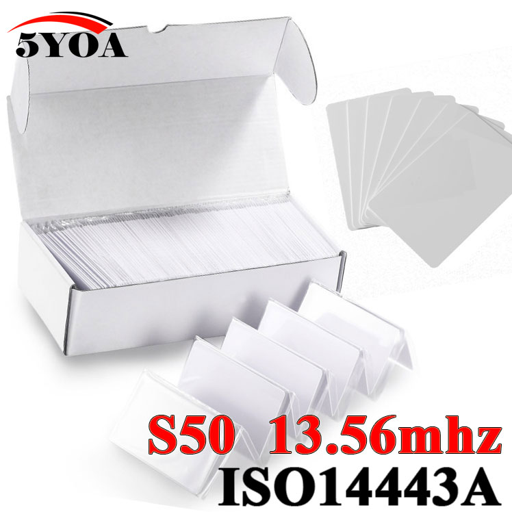bilder für 100 teile/los Rfid-karte 13,56 Mhz MF S50 Nähe IC Smart Card Tag 0,8mm Dünne Für Zugangskontrollsystem ISO14443A