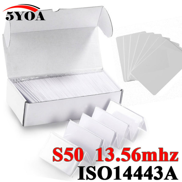100pcs/Lot RFID Card 13.56Mhz MF S50 Proximity IC Smart Card  Tag 0.8mm Thin For Access Control System ISO14443A