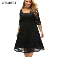 Summer New Simple Midi Dress Black Fashion Sexy Hollow Out Causal Plus Size XXXL Loose Lace Dress For Women Outwear E61395